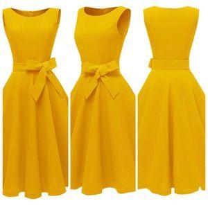 Vintage Inspired Boatneck Golden Dress